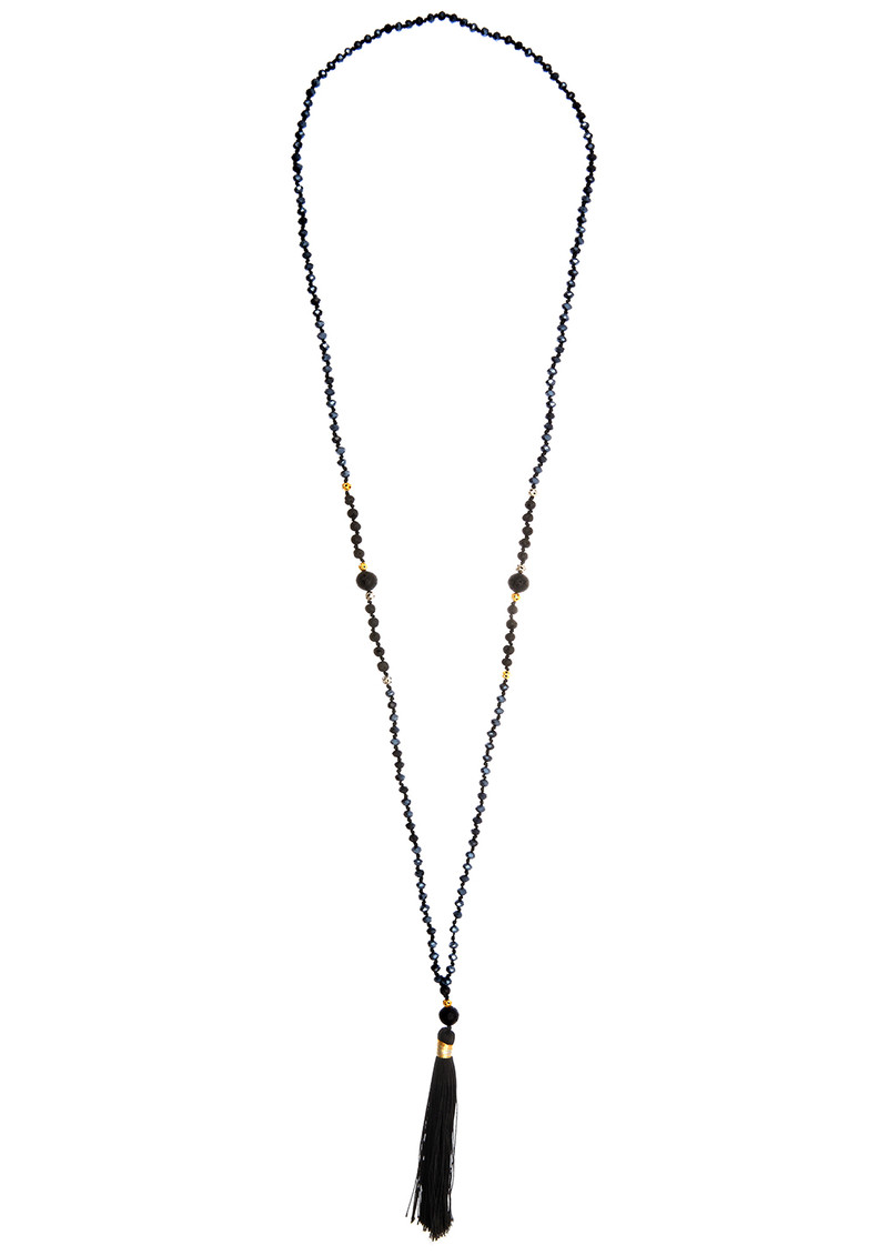 TRIBE + FABLE Single Tassel Necklace - Black Volcano main image