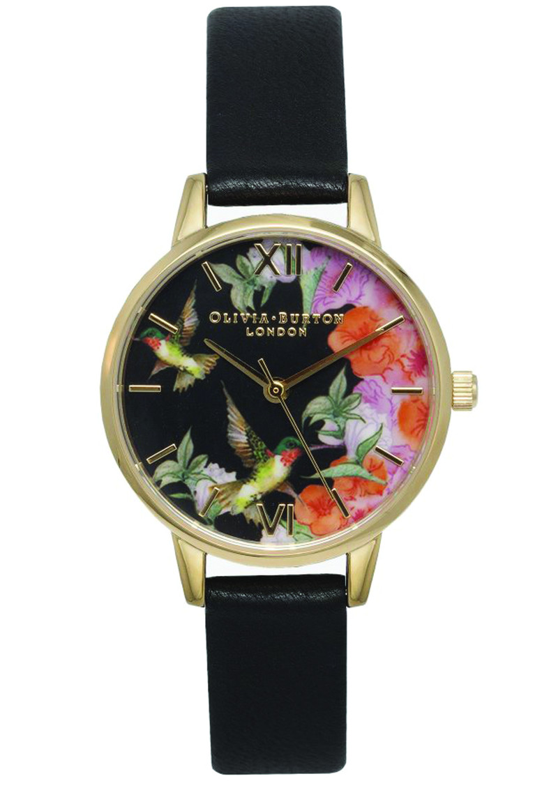 Olivia Burton Painterly Prints Midi Hummingbird Watch - Black & Gold main image