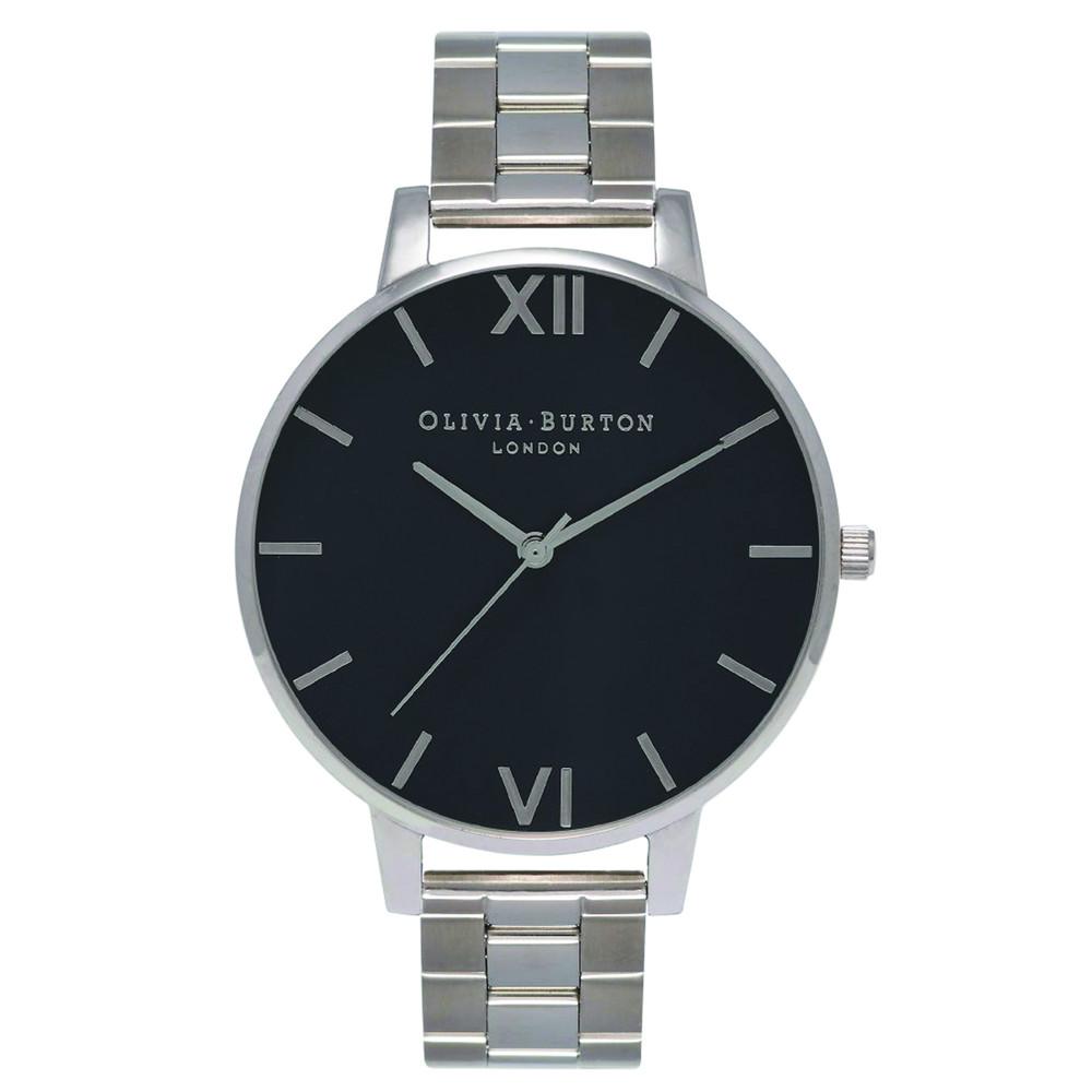 Big Black Dial Bracelet Watch - Silver