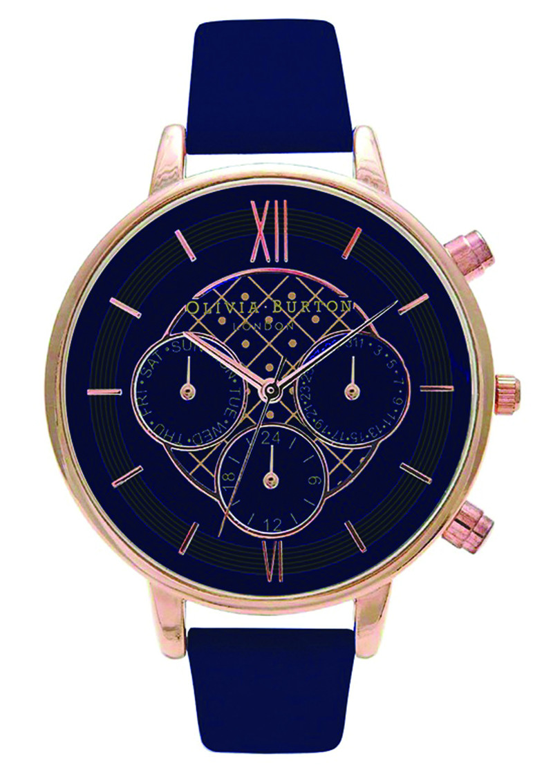 Chrono Detail Navy Dial Watch - Navy & Rose Gold main image
