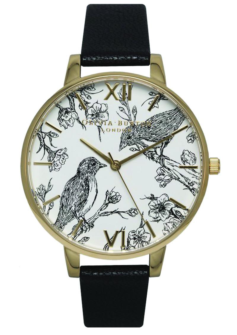 Olivia Burton Animal Motif Birds In Love Watch - Black & Gold main image
