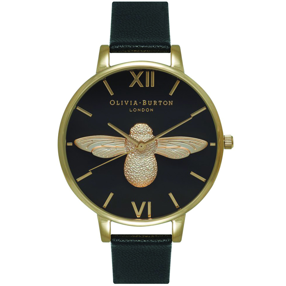 Moulded Bee Black Dial Watch Black & Gold