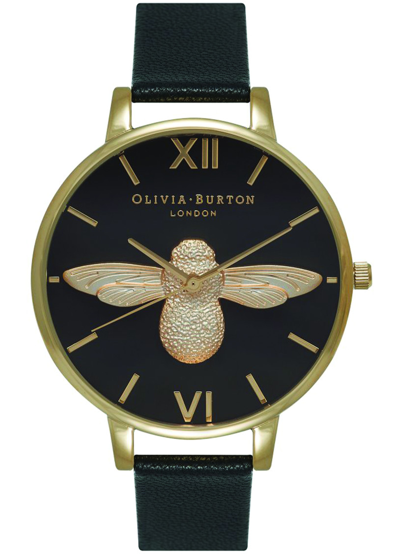 Olivia Burton Moulded Bee Black Dial Watch Black & Gold main image