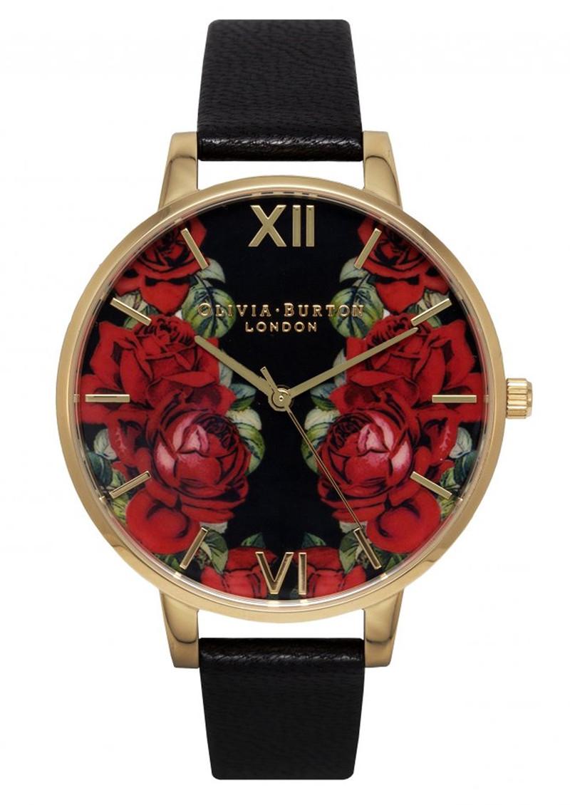 Olivia Burton English Rose Mirror Rose Watch - Black & Gold main image