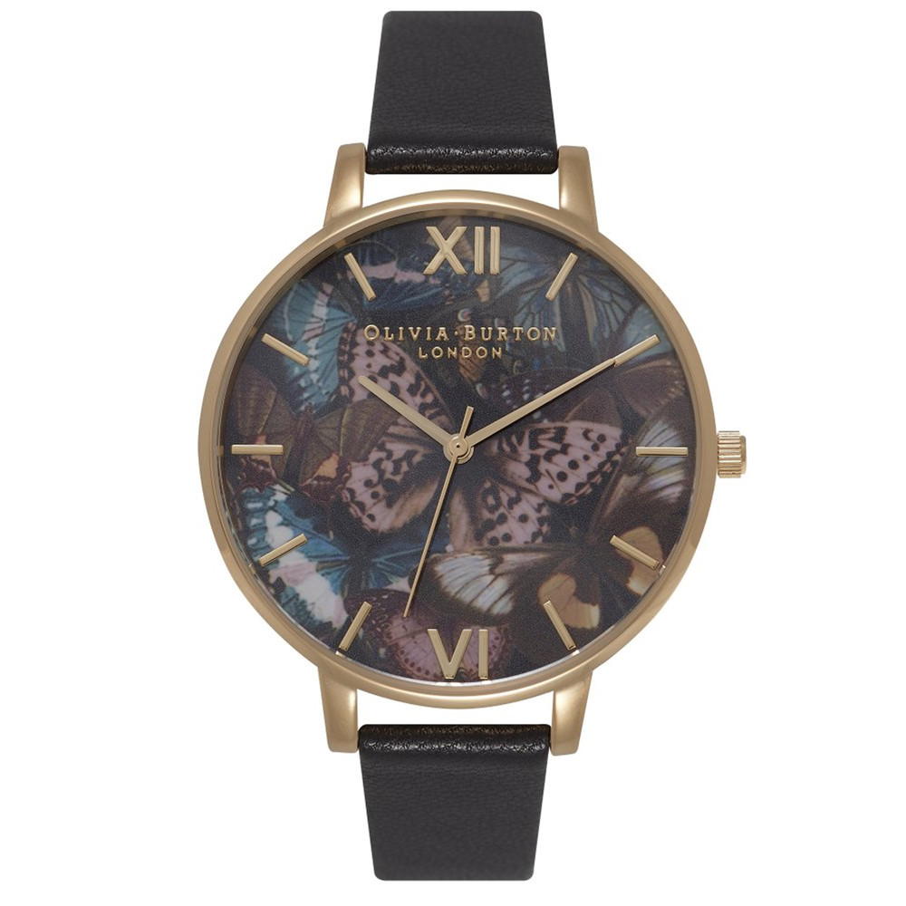 Woodland Multi Butterfly Watch - Black & Gold