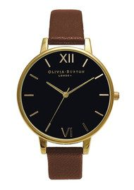 Olivia Burton Big Dial Black Dial - Tan & Gold