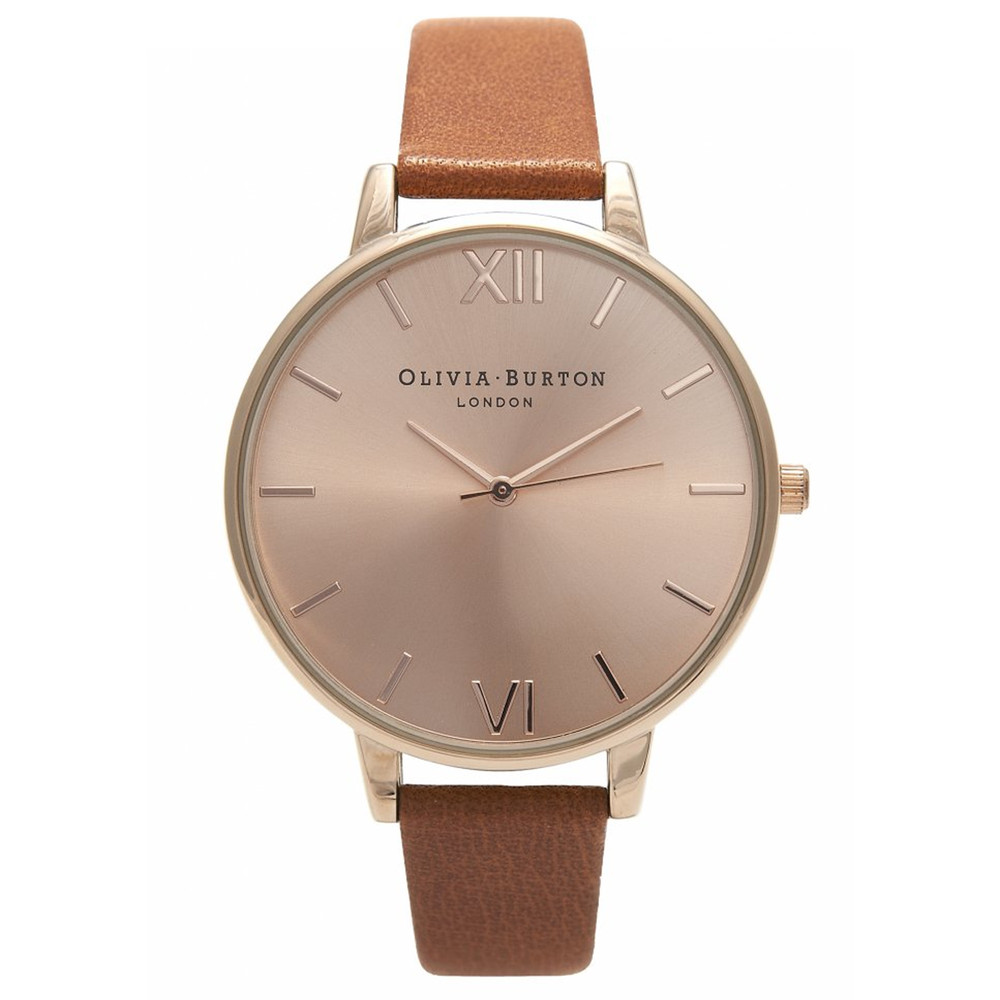 Big Dial Watch - Tan & Rose Gold