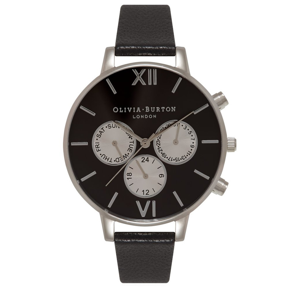 Chrono Detail Sunray Black Dial Watch - Black & Silver