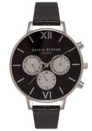 Olivia Burton Chrono Detail Sunray Black Dial Watch - Black & Silver