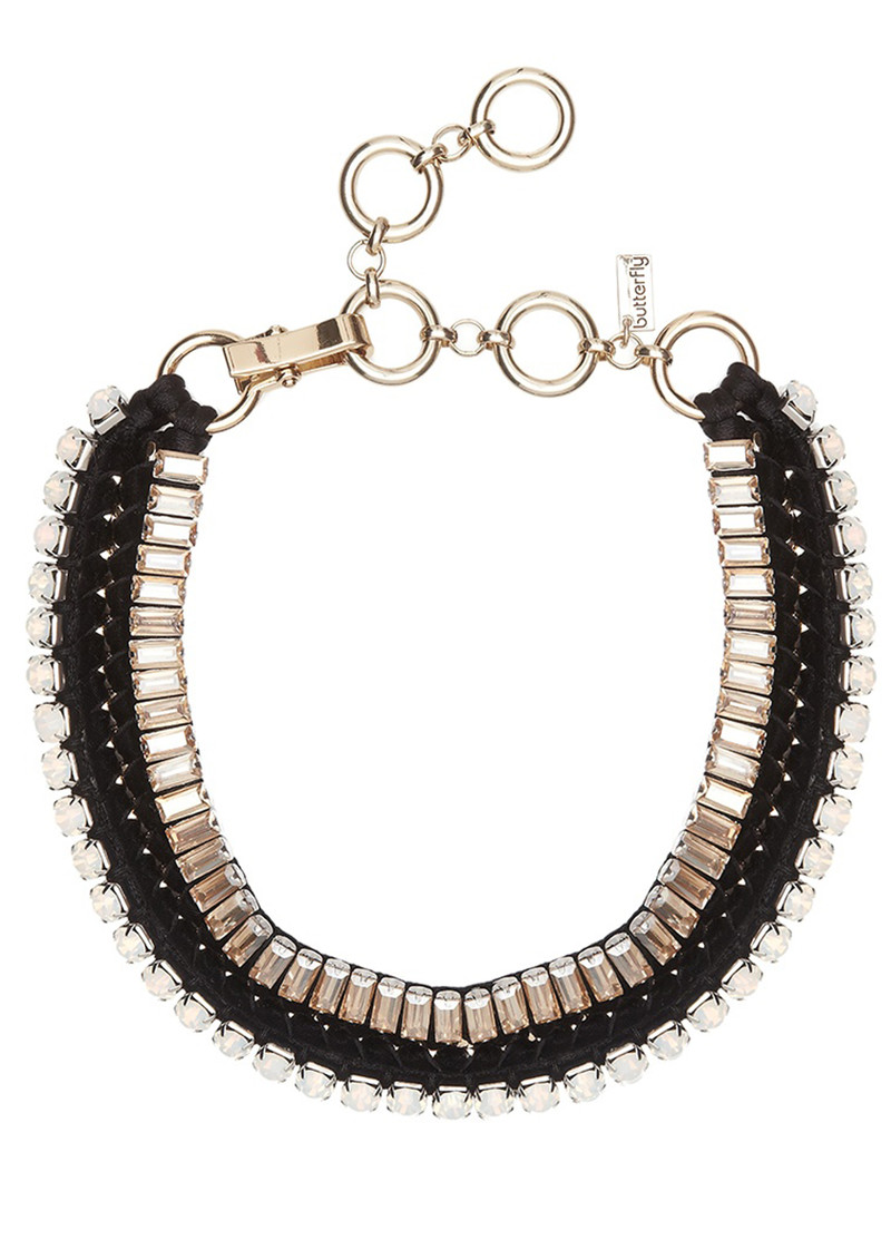 Butterfly Bold Statement High Voltage Necklace - Black & Champagne main image
