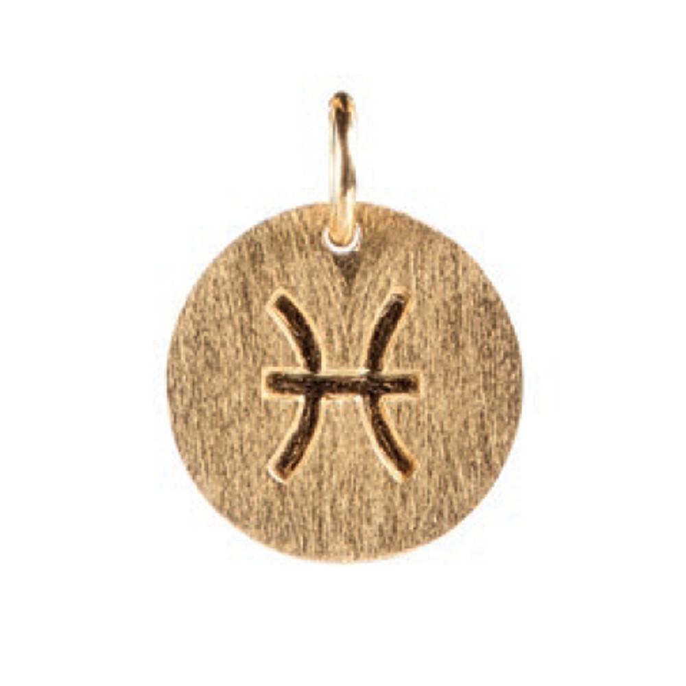 Zodiac Sign Gold Charm - Pisces