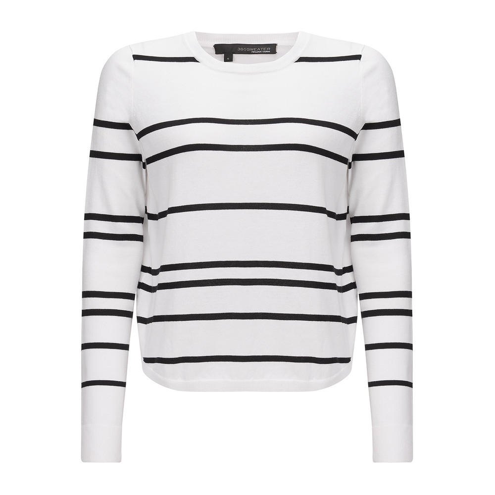 Oakland Striped Sweater - White & Black