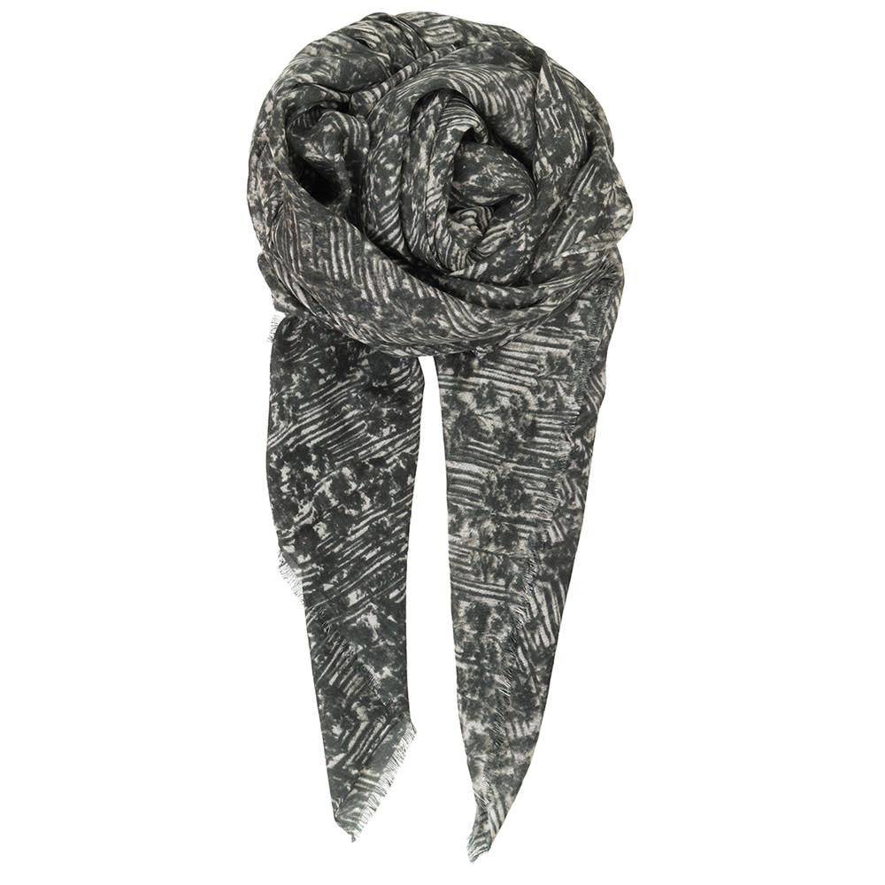 V-Warabi Silk Blend Scarf - Light Grey
