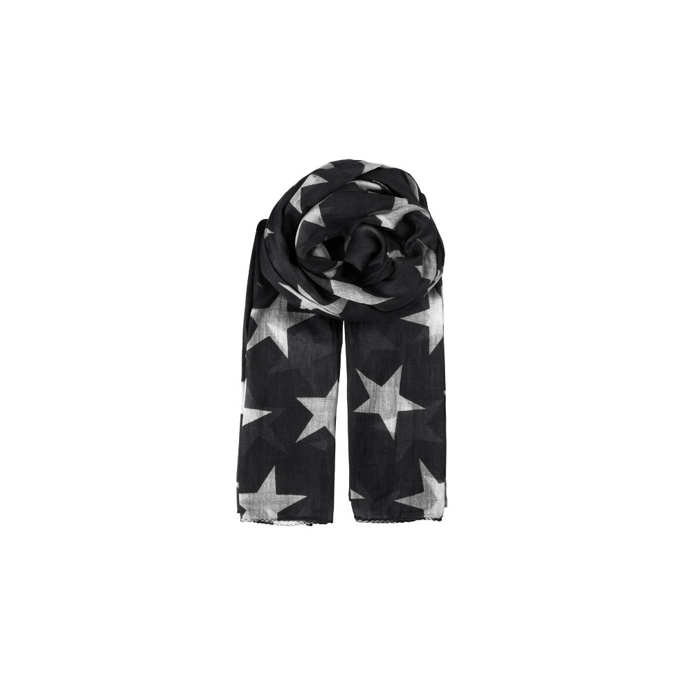 Fine Twilight Cotton Scarf - Black