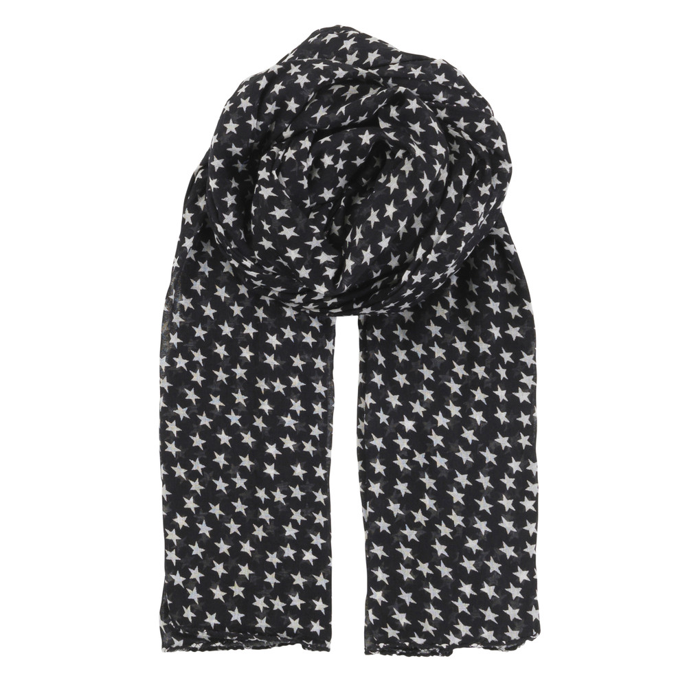 Fine Summer Star Cotton Scarf - Black